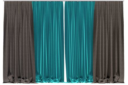 Curtains isolated on white background. Include clipping path. 3D illustration
