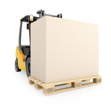 euro pallet: Forklift with pallet and carton with copy space. Isolated on white background. 3d render.