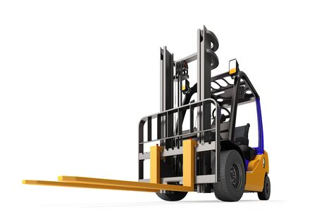 Forklift. Isolated on white background. 3d render.