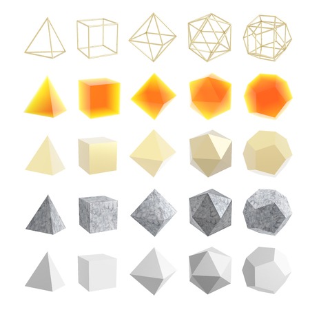 Set of geometric shapes, platonic solids. Isolated on white background. 3d illustration Stock Photo