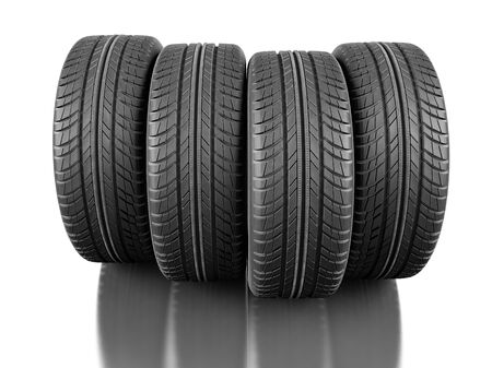 unused: Four car tires on white background. 3d illustration