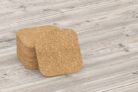 big cork: Beer coaster. Isolated on wooden table. 3d illustration Stock Photo