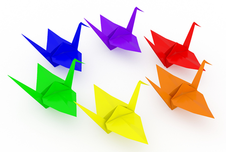 LGBT rainbow origami cranes. Isolated on white background. Include clipping path. 3d render