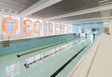 padding: MOSCOW - OCTOBER 15. The empty swimming pool of Olympic reserve school takes its first visitors on October 15, 2015 in Moscow Stock Photo