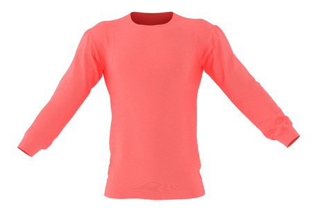 Long sleeve red t-shirt. Isolated on white background. Include clipping path. 3d render