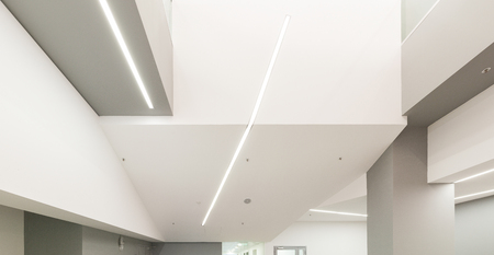 Office ceiling with modern recessed lighting