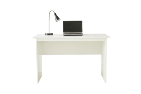White desk with lamp and laptop isolated on white background include clipping path. Banco de Imagens