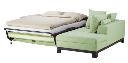 Light green corner couch bed isolated on white include clipping path