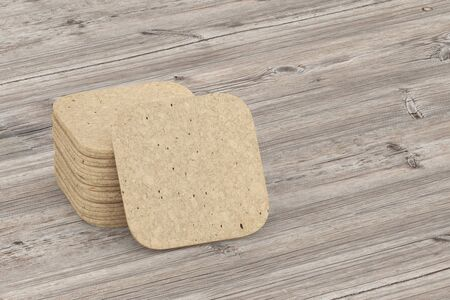 plate: Beer coaster. Isolated on wooden table. Include clipping path. 3d illustration Stock Photo
