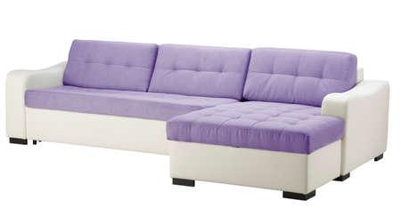 White leather sofa  isolated on white