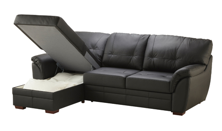 black leather texture: Black brown leather corner couch bed with storage isolated on white