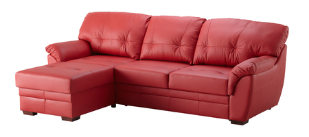 Red leather cornaer sofa isolated on white include clipping path