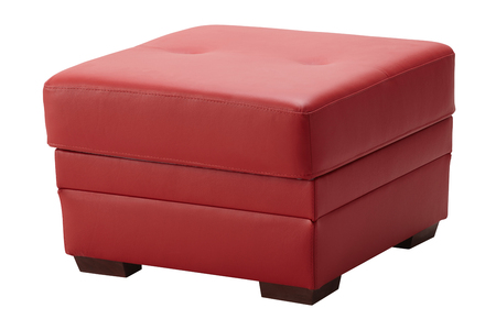Red leather stool isolated on white