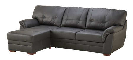 Black brown leather corner sofa isolated on white Stock Photo
