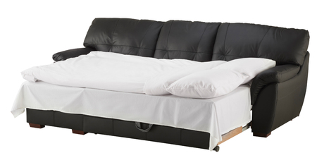 black leather texture: Black brown leather corner couch bed isolated on white include clipping path Stock Photo
