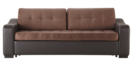 Brown leather sofa isolated on white
