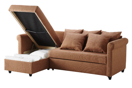 Brown sofa with storage isolated on white Stock Photo