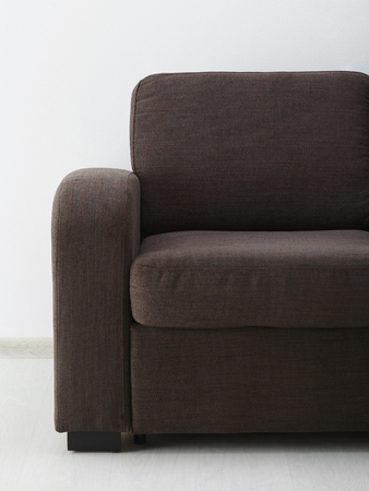 Brown corner sofa  isolated on white Stock Photo