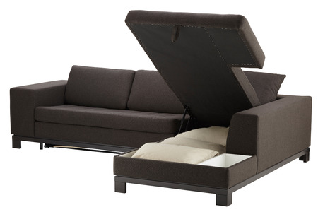 Brown corner couch bed with storage isolated