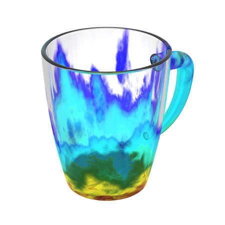 Kleurrijke glaskop die op wit wordt geïsoleerd. Inclusief uitknippad. 3D illustratie