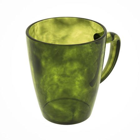 Olijf glazen mok geïsoleerd op wit. Inclusief uitknippad. 3D illustratie