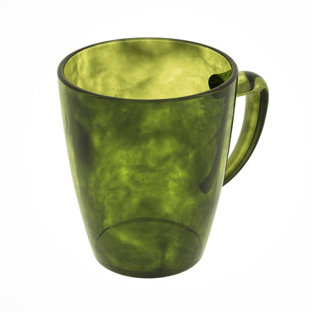 Olive glass mug isolated on white. Include clipping path. 3D illustration