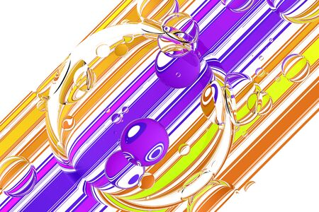 diagonal: Glass bubbles over colorful stripes on white  background. 3d illustration Stock Photo