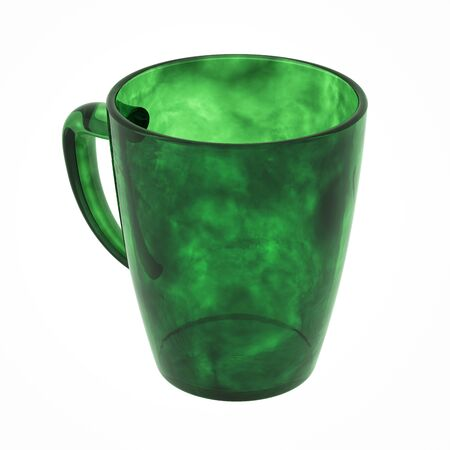 Green tea mug isolated on white. Include clipping path. 3D illustration