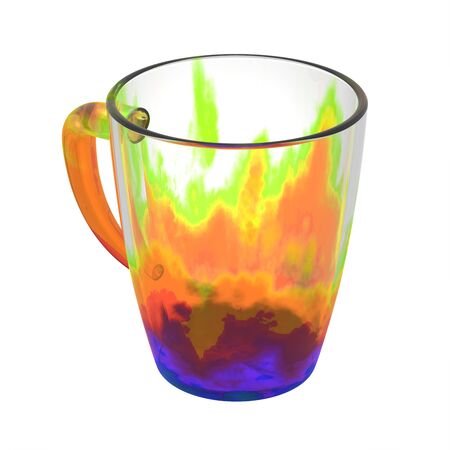 glas 3d: Empty tea mug isolated on white. Include clipping path. 3D illustration