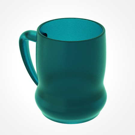 Glass mug isolated on white. Include clipping path. 3D illustration