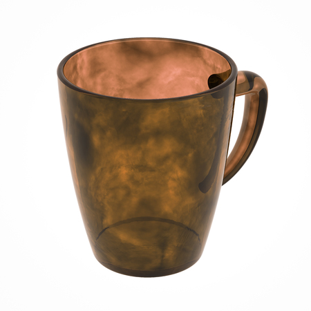 Brown glass mug isolated on white. Include clipping path. 3D illustration