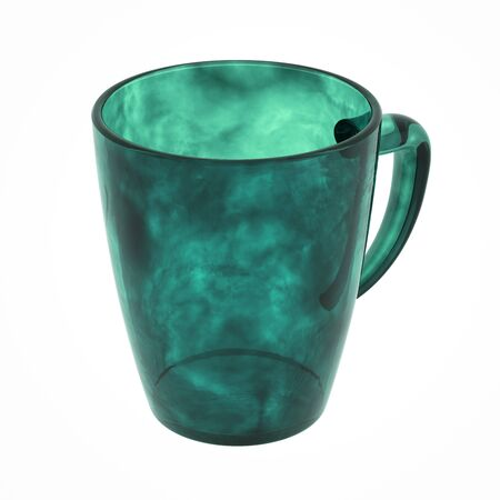 tel: Glass mug isolated on white. Include clipping path. 3D illustration