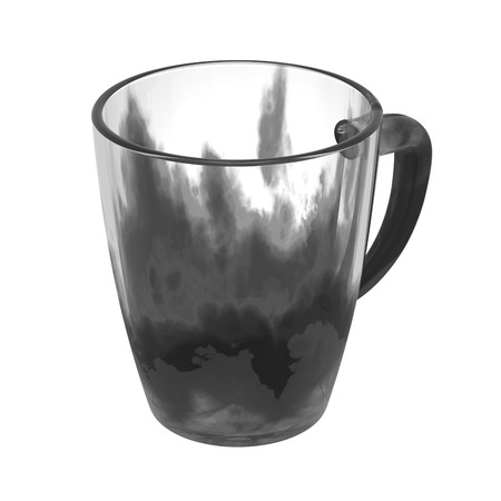 glas 3d: Black glass cup isolated on white. Include clipping path. 3D illustration Stock Photo