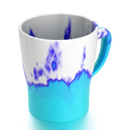 blue flame: Turquoise mug of tea  isolated on white. Include clipping path. 3D illustration Stock Photo