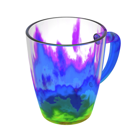 blue flame: Colorful  glass cup isolated on white. Include clipping path. 3D illustration