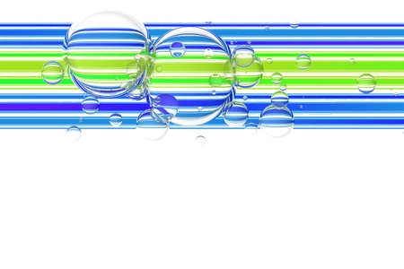 surface: Glass bubbles over colorful stripes abstract background. 3d illustration Stock Photo