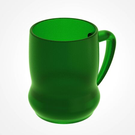 glass beer mug isolated on white. Include clipping path. 3D illustration Stock Photo