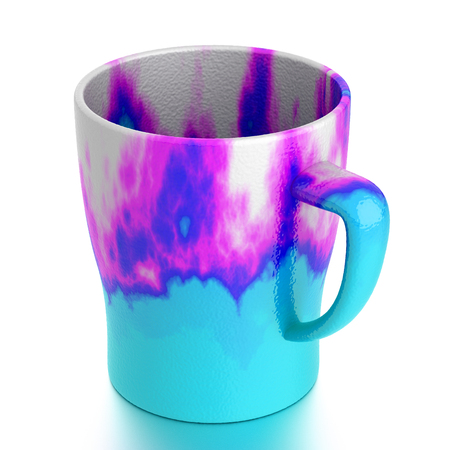 Ceramic mug isolated on white. Include clipping path. 3D illustration Stock Photo