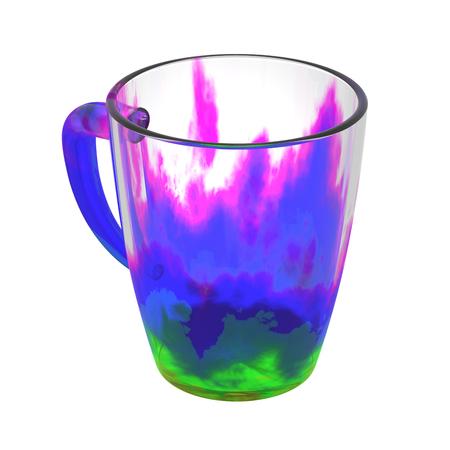 Lege glasmok die op wit wordt geïsoleerd. Inclusief uitknippad. 3D illustratie