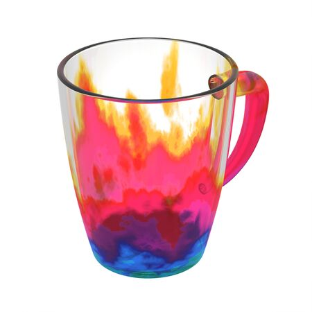 Kleurrijke glazen koffiemok. Geïsoleerd op wit omvat het knippen van weg. 3D illustratie