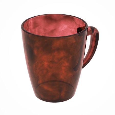 Lege glazen koffiemok. Geïsoleerd op wit omvat het knippen van weg. 3D illustratie Stockfoto