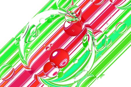 surface: Glass bubbles over colorful stripes on white  background. 3d illustration Stock Photo