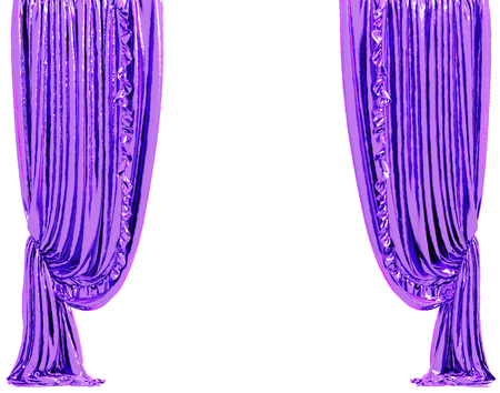 show window: Shine violet curtain. Isolated on white background include clipping path. 3D illustration