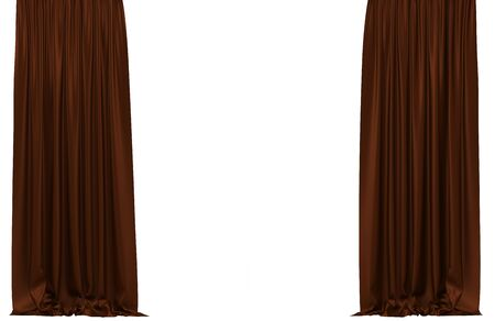 Velour: Curtains Isolated On White Background. Include Clipping Path. 3D  Illustration