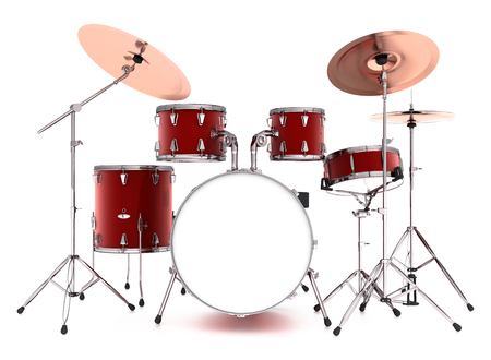 Drum kit. Isolated on white background. Include clipping path. 3d render