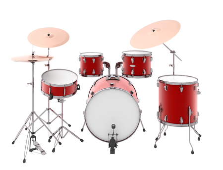 popular: Drum kit. Isolated on white background. Include clipping path. 3d render