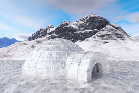 Igloo. Isolated with clipping path. 3d illustration.