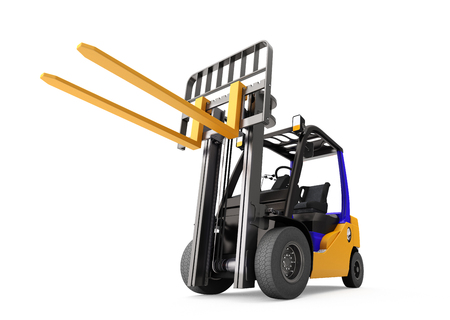 unloading: Forklift. Isolated on white background. Include clipping path. 3d render. Stock Photo