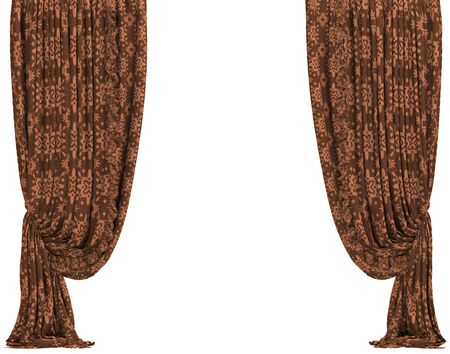 Brown window curtain. Isolated on white background include clipping path. 3D illustration