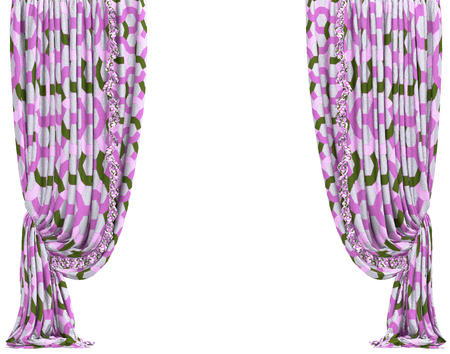 show window: Window curtain. Isolated on white background include clipping path. 3D illustration Stock Photo